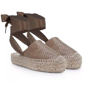 NEW Sam Edelman Snakeskin Lace Up Espadrille
